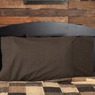 Black Primitive Bedding VHC Kettle Grove Pillow Case Set of 2 Cotton Check