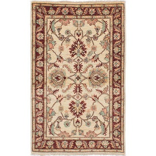 eCarpetGallery Chobi Finest Ivory/Red Wool/Cotton Hand-knotted Rug (3'10 x 6'2)
