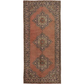eCarpetGallery Hand-knotted Anadol Vintage Brown Wool and Cotton Runner Rug (4'7 x 10'3)
