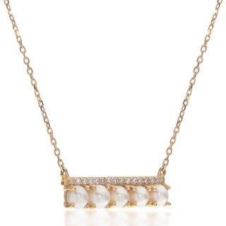 Pearls For You 14KY Freshwate Seed Pearl and Diamond Bar Necklace (3-3.5 mm) (H-I, I1)