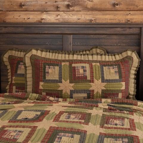 Green Rustic Bedding VHC Tea Cabin Sham Cotton Patchwork