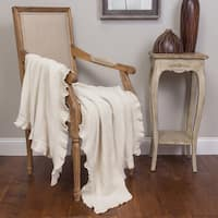 Quarrie Papyrus Ivory Cotton Ruffled Throw
