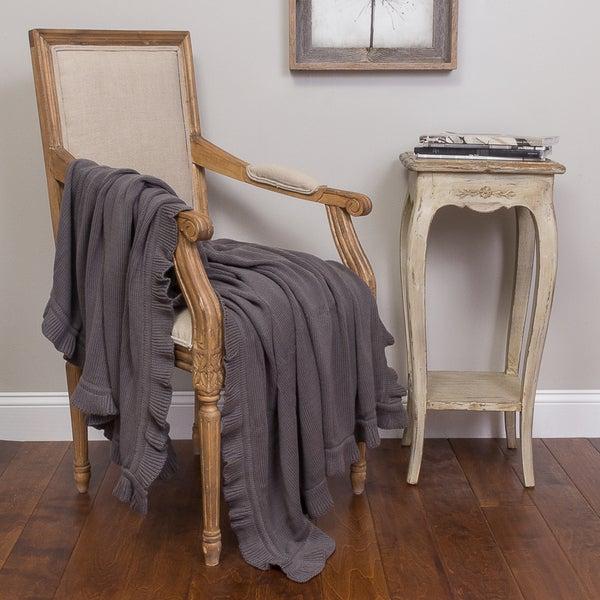 Quarrie Grey Cotton Ruffled Throw
