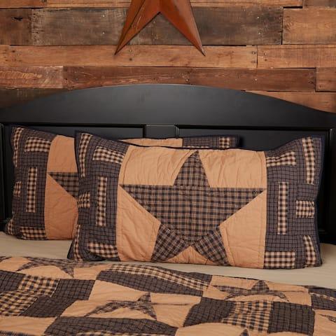 Tan Primitive Bedding VHC Teton Star Sham Cotton Star Patchwork