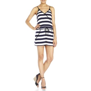 French Connection Navy White Striped Romper