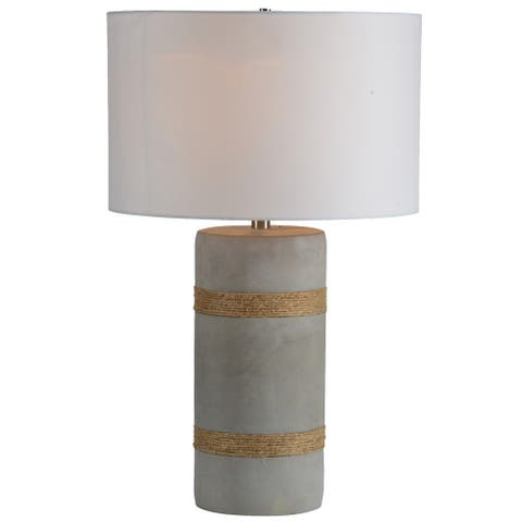 Strick & Bolton Gerda Concrete Table Lamp with White Fabric Shade