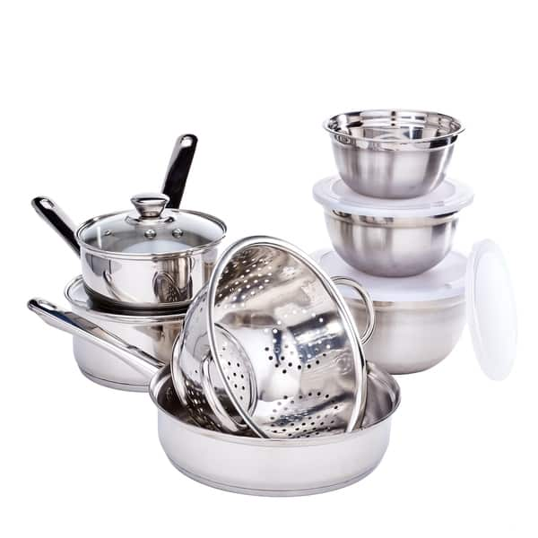Shop 36 Pc. Kitchen in a Box Stainless Steel Cookware Set ...