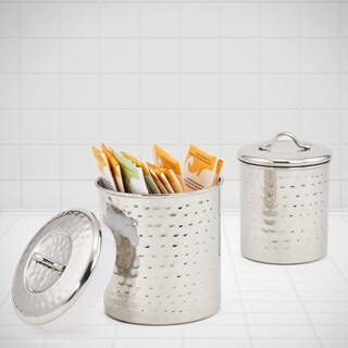 2 Piece Stainless Steel Hammered Canister Set, 1.5 Qt. & 1 Qt.