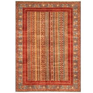 Herat Oriental Afghan Hand-knotted Tribal Super Kazak Wool Rug (6'10 x 9'5)