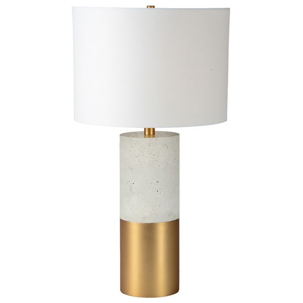 Renwil Archers Satin Brass/ Cement Grey White Shade Table Lamp
