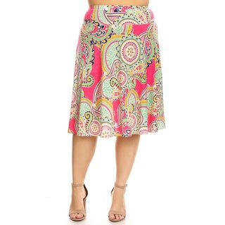Women's Plus Size Multicolored Paisley Skirt