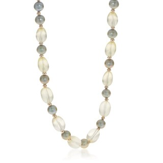 Pearls For You 14k Yellow Gold Pearl and Quartz 17-inch Necklace