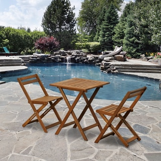 Furinno Tioman Outdoor Hardwood 3 Piece Bistro Set in Teak Oil, FG3611298
