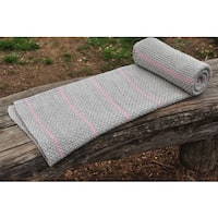 Mayra Collection Grey and Pink Stripe Cotton Throw