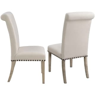 Modern Vintage Designed Rolled Back Parson Dining Chairs (Set of 2)