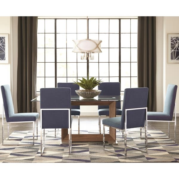 Tremendous Shop Modern Floating Design Glass Top Dining Set With Blue Alphanode Cool Chair Designs And Ideas Alphanodeonline