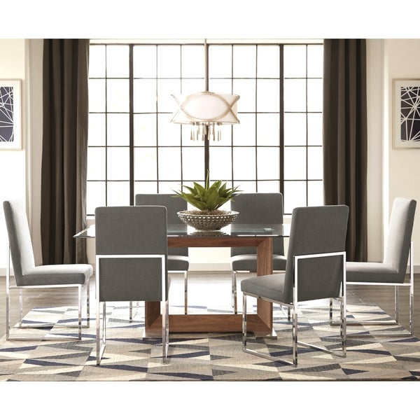 Shop Modern Floating Design Glass Top Dining Set With Grey