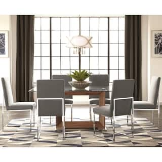 Modern Floating Design Glass Top Dining Set with Grey Chairs|https://ak1.ostkcdn.com/images/products/15616603/P22050110.jpg?impolicy=medium