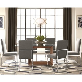 Modern Floating Design Glass Top Dining Set with Grey Chairs