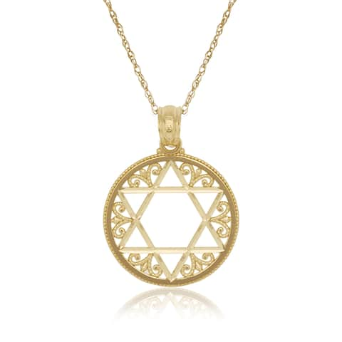 14k Yellow Gold 16-inch Filigree Open Star Of David Circle Pendant Necklace