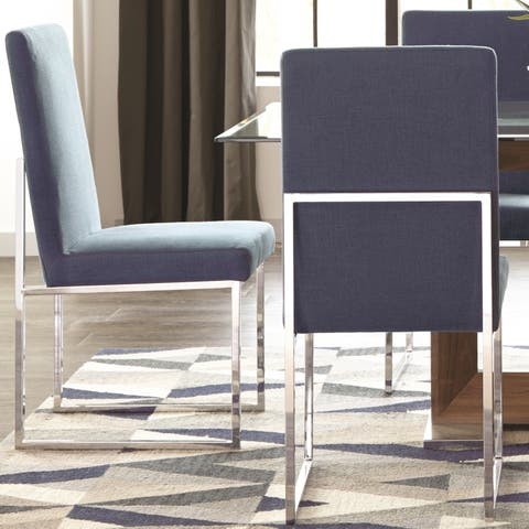 Modern Floating Design Blue Dining Chairs (Set of 2)