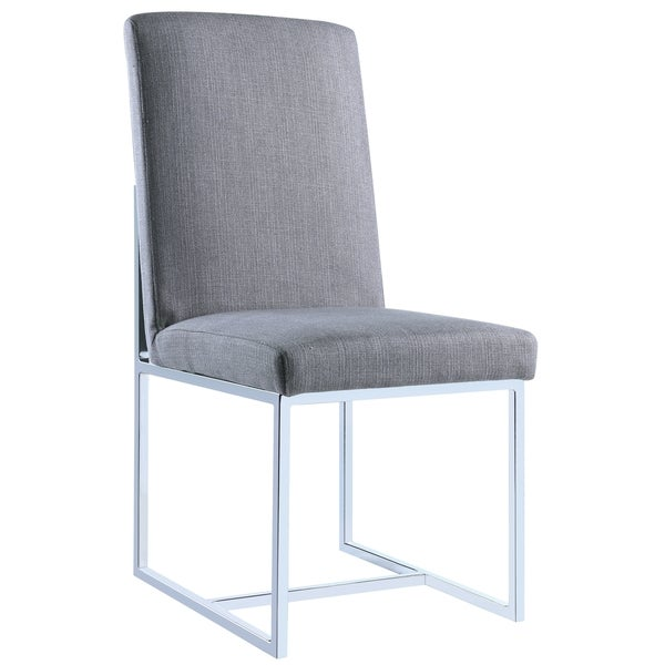 Modern Floating Design Grey Dining Chairs (Set Of 2)