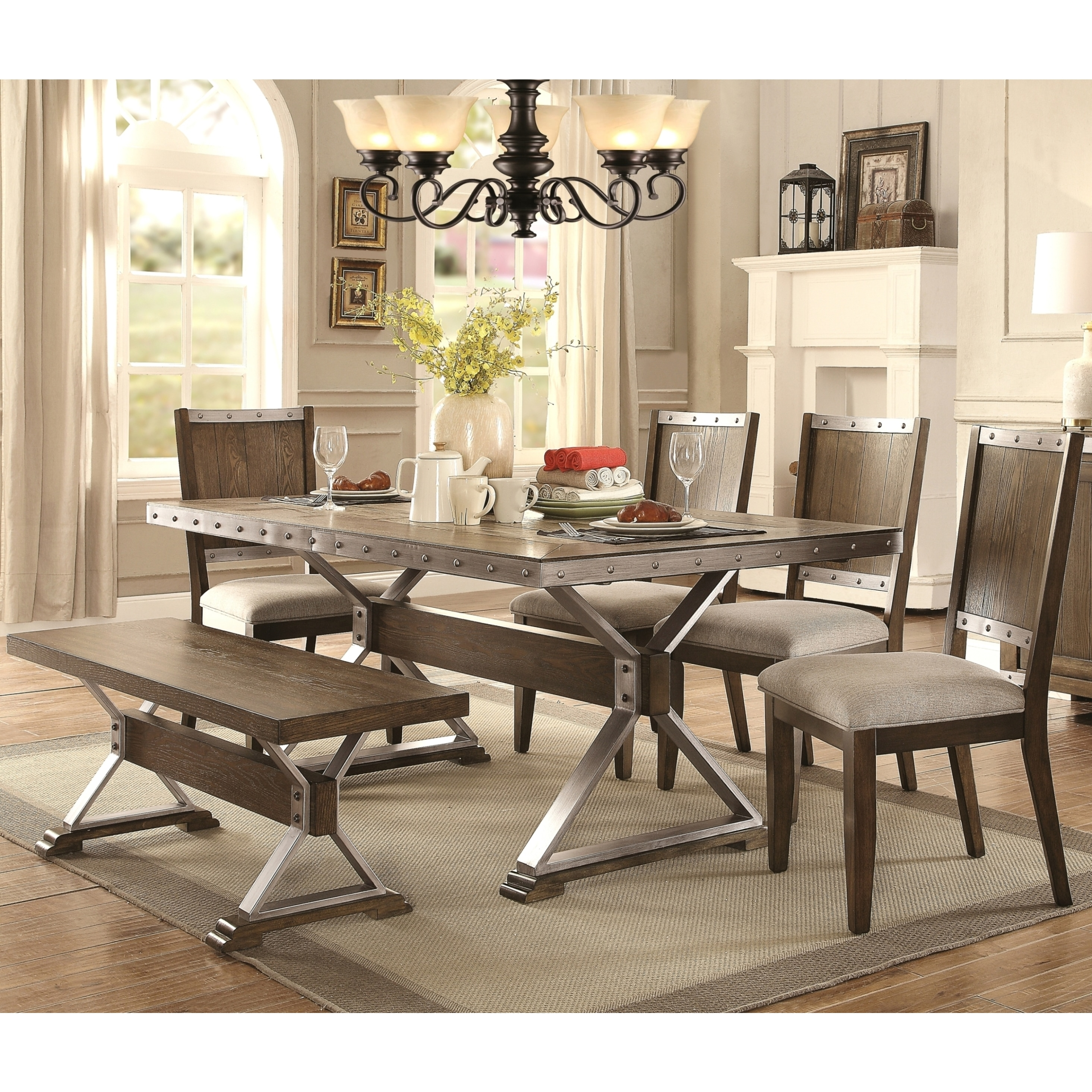 Wine Barrel Industrial Design Dining Set (1 Table, 4 Chai...