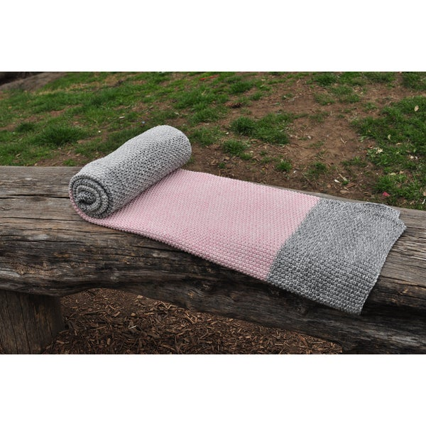 Vena Collection Pink and Grey, Super Soft Cotton Throw Blanket by Pink Lemonade