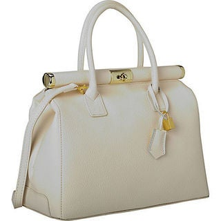 Sharo Deleite 21 White Leather Satchel Handbag