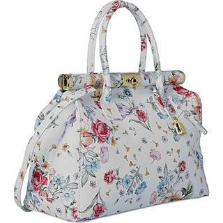 Deleite by Sharo Ivory Leather Floral Satchel Handbag