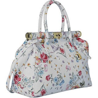 Deleite by Sharo Ivory Leather Floral Satchel Handbag