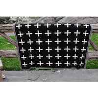 Daza Collection Cross Black and White Super Soft Cotton Throw by Pink Lemonade