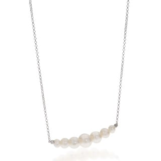 Pearls For You Sterling Silver White Freshwater Graduated Pearl Necklace (4-8 mm)