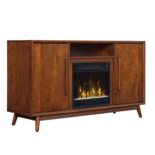 Leawood TV Stand for TVs up to 60 inches with Electric Fireplace, Mahogany Cherry