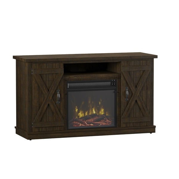 Cottonwood Fireplace TV Stand for TVs up to 55 inches, Saw Cut Espresso