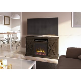 Cottonwood TV Stand for TVs up to 55 inches with Electric Fireplace, Saw Cut Espresso