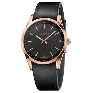Calvin Klein Men's Bold Stainless Steel Rose Gold PVD Coated Black Swiss Quartz Watch - Black/Rose Gold