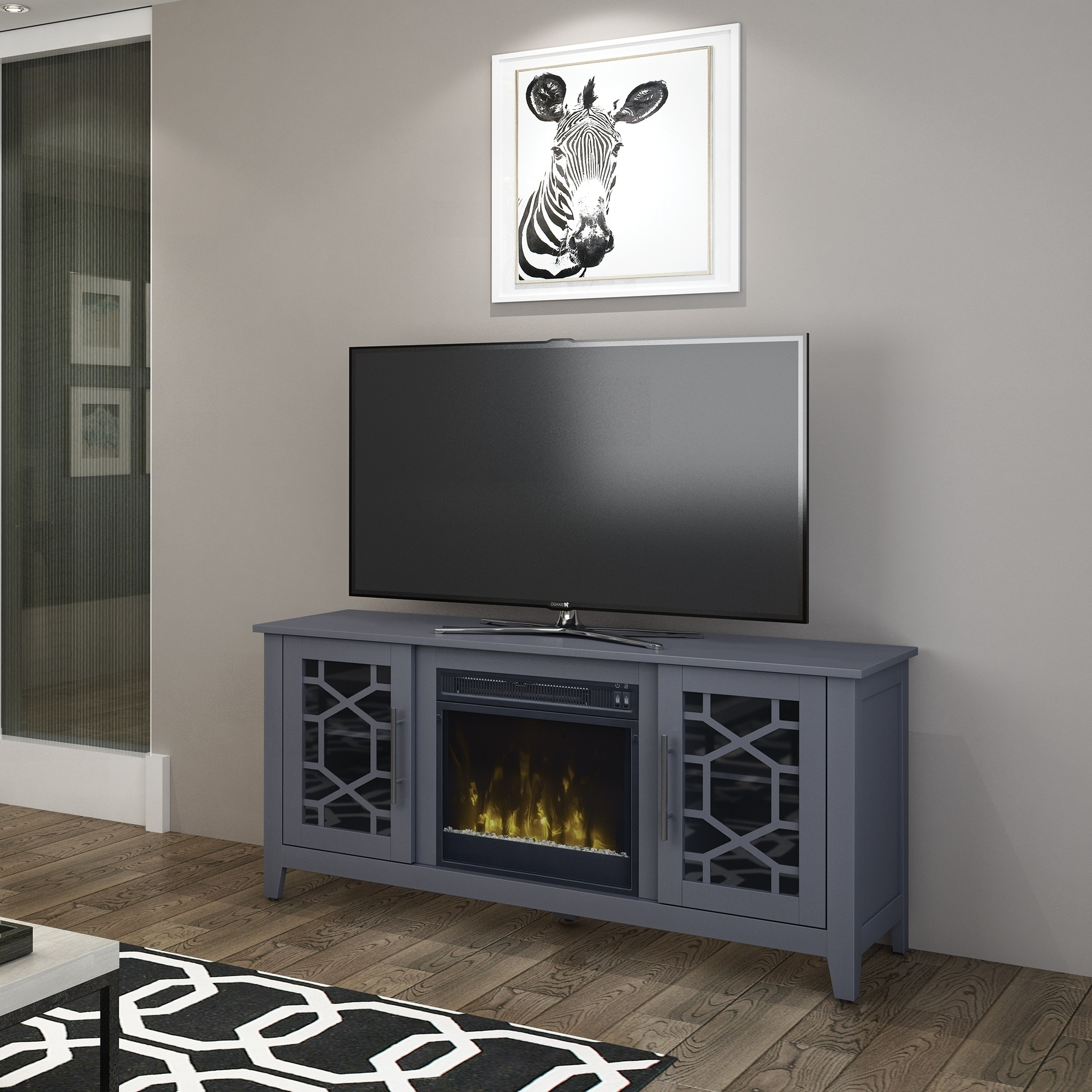 Clarion Tv Stand For Tvs Up To 60 Inches With Electric Fireplace Cool Gray Ebay
