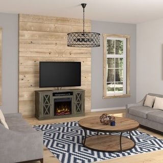 Bayport Fireplace TV Stand for TVs up to 55 inches, Spanish Gray