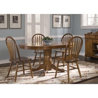 Nostalgia Medium Oak 42x60 Oval Pedestal Dinette Table