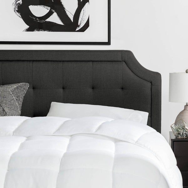 BROOKSIDE Upholstered Scoop-Edge Headboard with Square Tufting - Stone and Charcoal Color Options