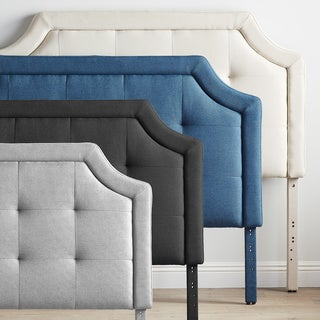 BROOKSIDE Upholstered Scoop-Edge Headboard with Square Tufting