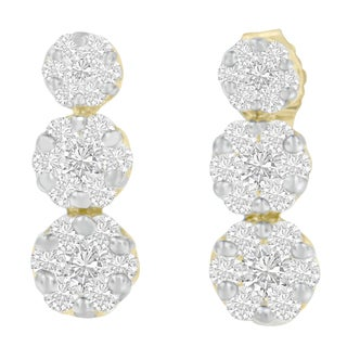 14KT Yellow Gold 1 ct.TDW Round Diamond Earring(H-I,I1-I2)