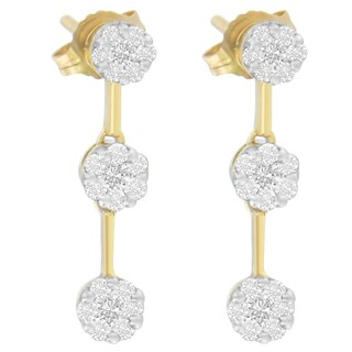 14KT Yellow Gold 1.05 ct. TDW Round Diamond Earring(H-I,SI1-SI2)