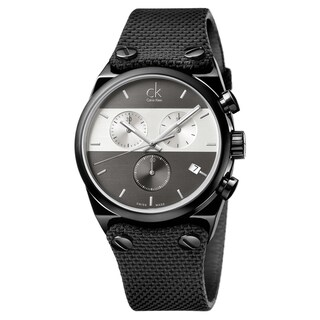 Calvin Klein Men's Eager Stainless Steel Black PVD Coated Grey - Black/Grey