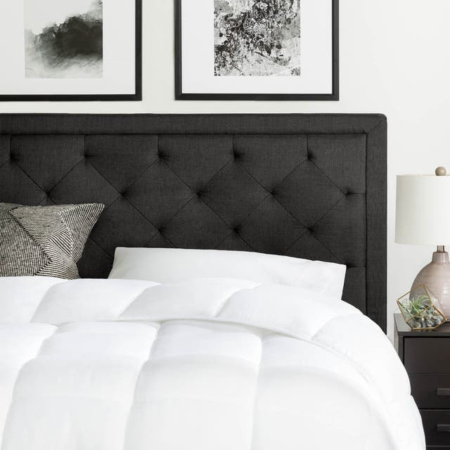 BROOKSIDE Upholstered Headboard with Diamond Tufting - Charcoal - Queen