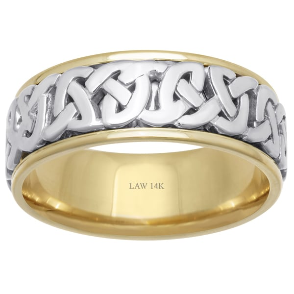 14k Two Tone Gold Celtic Love Knot Comfort Fit Menx27s Wedding