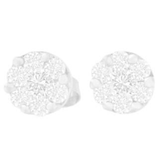 14KT White Gold 3/4ct. TDW Round Diamond Stud Earring(G-H,SI2-I1)