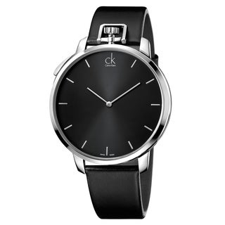 Calvin Klein Men's Leather Stainless Steel Black Swiss Quartz Watch