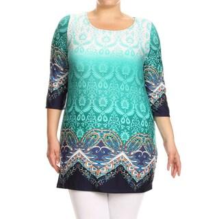 Women's Plus Size Abstract Damask Pattern Tunic